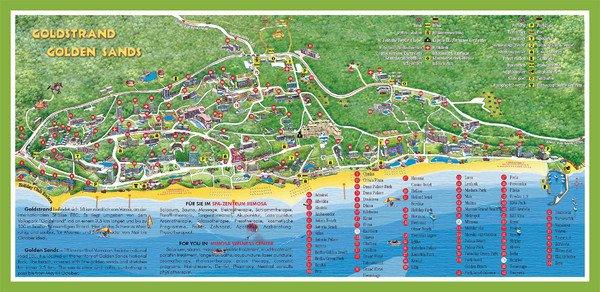 Карты Золотых Песков Карта курорта Золотые Пески с отелями Туристическая карта отелей Золотых Песков Болгария
